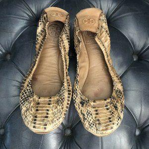 Tory Burch Eddie Women's Snakeskin Flats 8.5